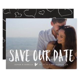 私達の日付の発表|の白いレタリングを救って下さい カード