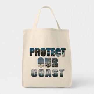 私達の海岸の熱帯ビーチのバッグを保護して下さい トートバッグ