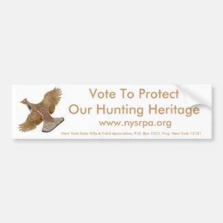 私達の狩りの伝統を保護するために投票して下さい バンパーステッカー