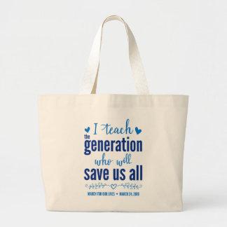 私達の生命トートのための3月 ラージトートバッグ