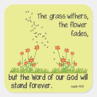 私達の神の単語はアイザイアの40:8を永久に立てます スクエアシール