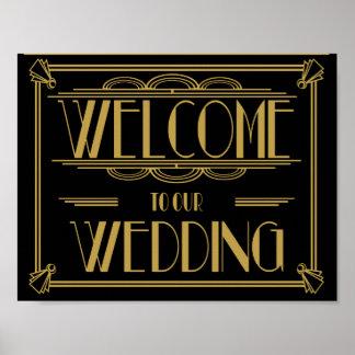 私達の結婚式のアールデコのプリントへの歓迎 ポスター