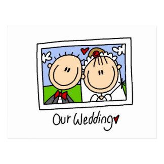 私達の結婚式の新郎新婦のTシャツおよびギフト ポストカード