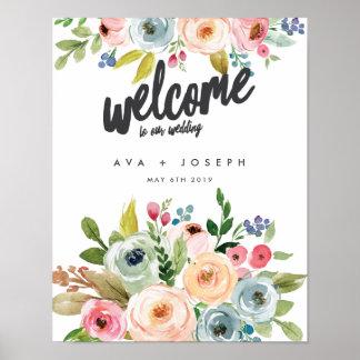私達の結婚式への明るい植物の歓迎-灰色 ポスター
