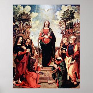 私達の聖母マリア女性完全なハート3ポスター ポスター