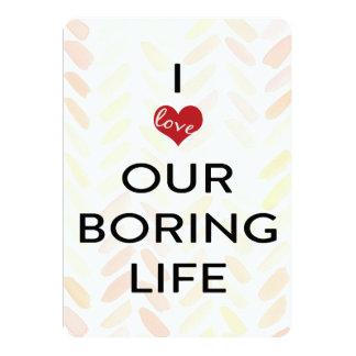 私達の退屈な生命ピンクの水彩画のバレンタイン 12.7 X 17.8 インビテーションカード