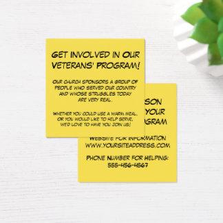 私達の退役軍人のプログラムに関与して下さい! 教会情報 スクエア名刺