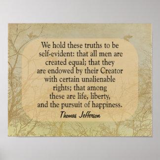 私達はこれらの真実-ジェファーソンの引用文-を芸術のプリント保持します ポスター