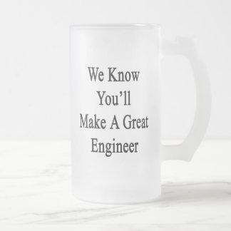 私達はすばらしいエンジニアを作ることをわかっています フロストグラスビールジョッキ
