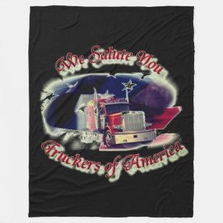 私達はアメリカのトラック運転手に挨拶します フリースブランケット