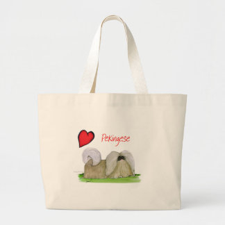 私達はトニーFernandesからのpekingese love ラージトートバッグ