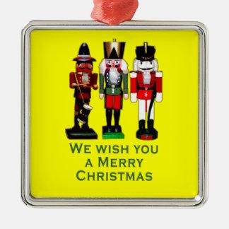 私達はメリークリスマスのくるみ割りを望みます メタルオーナメント