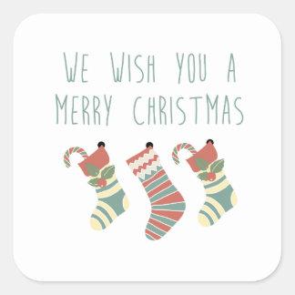 私達はメリークリスマスのステッカーを望みます スクエアシール
