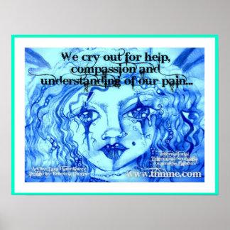 私達は助け、同情および理解のために叫びます ポスター