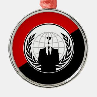 私達は匿名の無政府主義者の旗です シルバーカラー丸型オーナメント