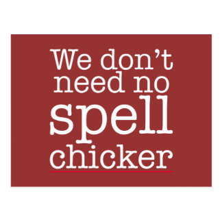 私達は必要としません綴りのchicker (レジ係)を ポストカード