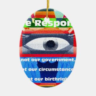 私達は責任がありません私達の政府 陶器製卵型オーナメント