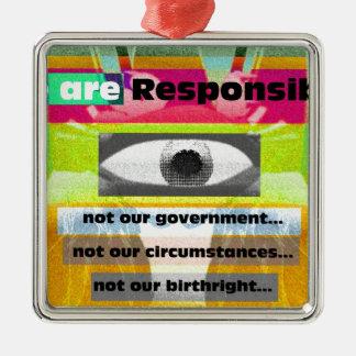 私達は責任がありません私達の状況 メタルオーナメント