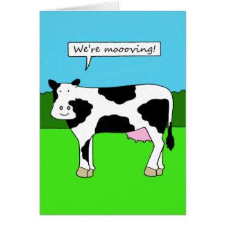 私達は、新しい家、家、前提、漫画動いています グリーティングカード