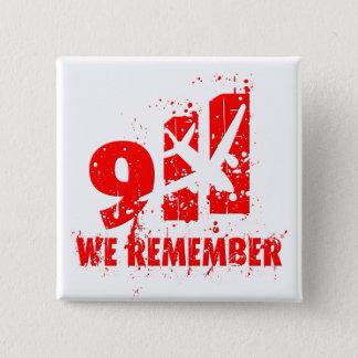 """私達は""""911""""を第10記念日ボタン覚えています 5.1CM 正方形バッジ"""
