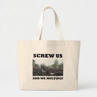 私達をねじで締めれば私達は増加します ラージトートバッグ