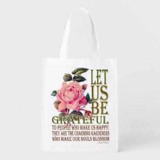 私達を感謝したピンクのバラ-買い物袋--があることを許可して下さい エコバッグ