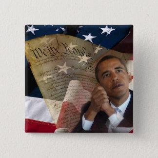 私達人々…バラック・オバマ及び憲法 5.1CM 正方形バッジ