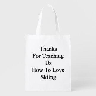 私達教えるをありがとうスキーをすることを愛する方法を エコバッグ