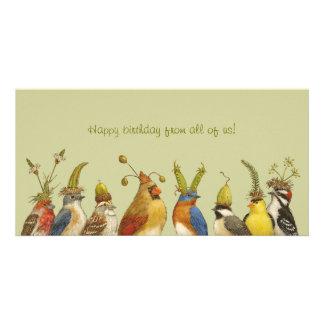 私達皆からのハッピーバースデーのパーティーの鳥カード カスタム写真カード