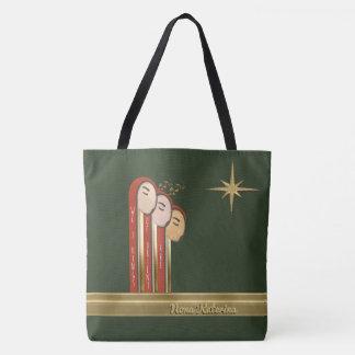 私達3人の王-名前入りなアールデコのクリスマス トートバッグ