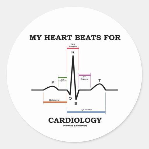 私|ハート|ビート|心臓学|(湾曲|リズム) 丸形シール・ステッカー