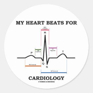 私|ハート|ビート|心臓学|(湾曲|リズム) 丸形シールステッカー