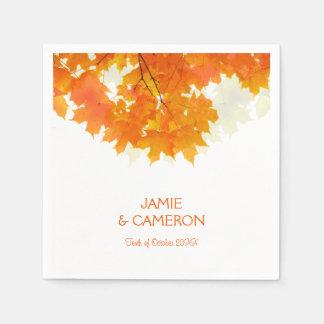 秋のかえでは結婚式の結婚式のナプキンを去ります スタンダードカクテルナプキン