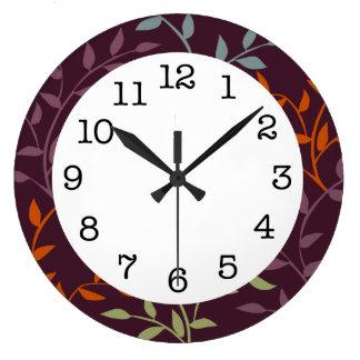 秋のつる植物のモダンな柱時計 ラージ壁時計