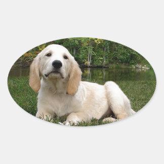 秋のイエロー・ラブラドール・レトリーバーの子犬 楕円形シール