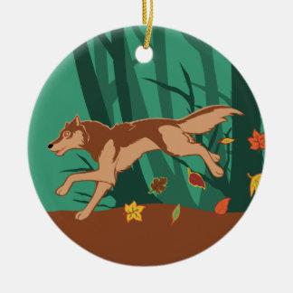 秋のオオカミ セラミックオーナメント