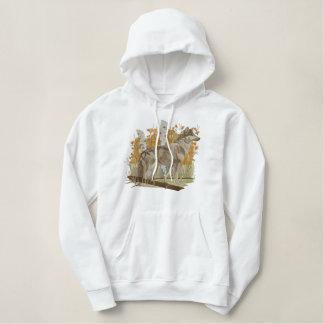 秋のオオカミ 刺繍入りパーカ