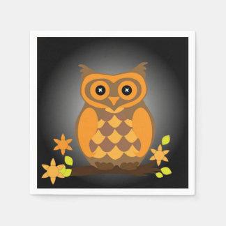 秋のオレンジのフクロウ スタンダードカクテルナプキン