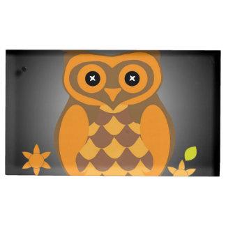 秋のオレンジのフクロウ テーブルカードホルダー