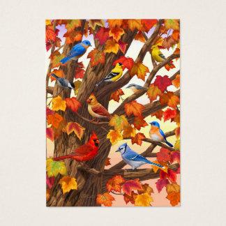 秋のカエデの木の鳥 名刺