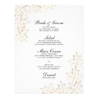 秋のカエデの葉の端の結婚式メニュー チラシ