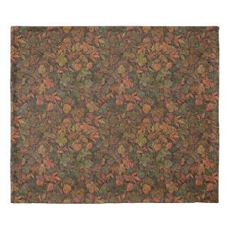 秋のカシの葉のカムフラージュの緑及び金の錆 掛け布団カバー