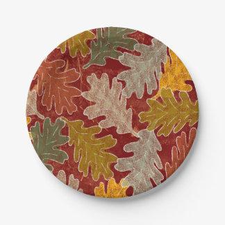 秋のカシの葉 ペーパープレート