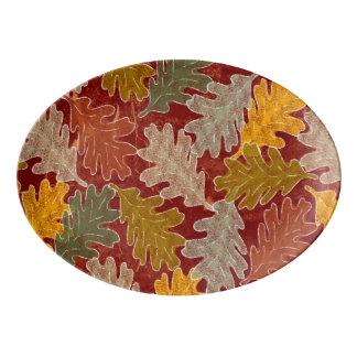 秋のカシの葉 磁器大皿