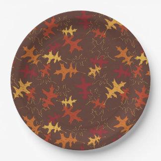 秋のカシは紙皿を去ります ペーパープレート