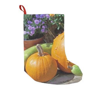 秋のカボチャおよび花 スモールクリスマスストッキング