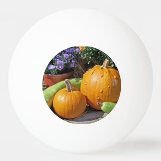 秋のカボチャおよび花 卓球ボール