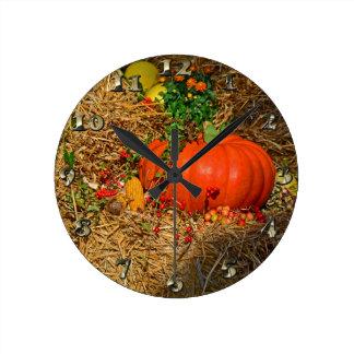 秋のカボチャパッチの秋 ラウンド壁時計