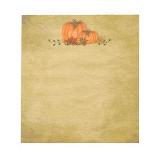 秋のカボチャ小さいメモ帳 ノートパッド