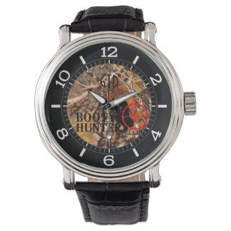 秋のカムフラージュのダイヤルの利得のハンター 腕時計